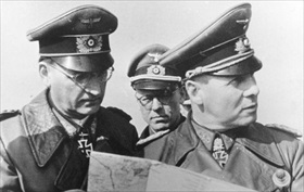 Rommel (right) and Chief of Staff on inspection tour, April 1944
