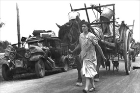 Battle of France: French road clogged with refugees, June 1940
