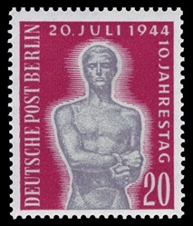 German stamp memorializing the failed 1944 assassination of Hitler