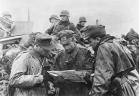 German field commanders plan their advance through the Ardennes Forest, December 1944