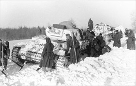 Tank stuck in Russian snow