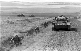 German infantry and tank in steppe