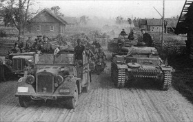 Armored units traversing Belarus dirt road, June 1941