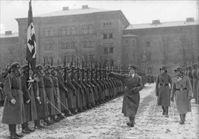 "Adolf Hitler and Josef ""Sepp"" Dietrich review the Leibstandarte Adolf Hitler, Berlin, December 1935"