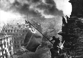 Capture of Berlin: Soviet flag over Reichstag