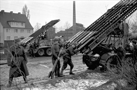 Last days of the Third Reich: Soviet rocket launcher, Berlin, April 1945