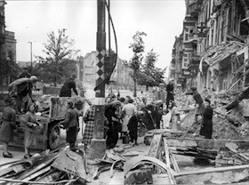 Battle in Berlin: Clearing debris on a Berlin street
