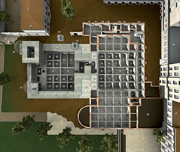 3-D representation of Vorbunker and Fuehrerbunker, Berlin