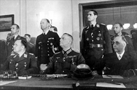 German unconditional surrender, Berlin, May 8, 1945. L–R: Stumpff, Keitel, Friedeburg