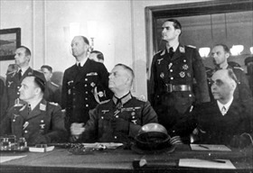 L–R: Adm. Hans-Georg von Friedeburg, Keitel, and Luftwaffe Colonel-General Hans-Jürgen Stumpff, Berlin, May 8, 1945