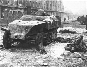 Last days of the Third Reich: Destroyed Panzerwagen, Berlin 1945