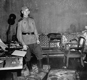 Hitler's sitting room in Fuehrerbunker and place of suicide