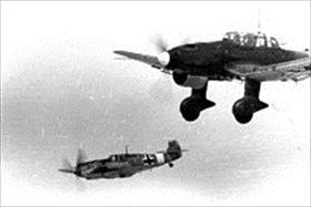 Ju 87 B and Messerschmitt Bf 109 E