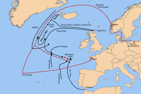 Royal Navy's operations against Bismarck, May 1941