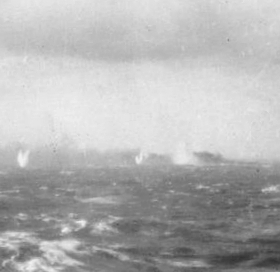 Bismarck burning and sinking, May 27, 1941