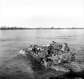 British 5th Dorsetshire cross Rhine in a tracked landing vehicle, March 28, 1945