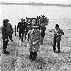 Crossing the Rhine: Churchill, Montgomery, U.S. commanders on Rhine east bank, March 1945