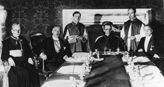 Cardinal Secretary of State Pacelli at signing of Reichskonkordat, Rome, July 20, 1933