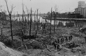 German Blitzkrieg against Poland: German soldiers sweep Westerplatte battlefield
