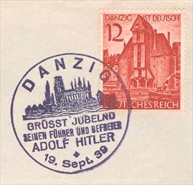 """Danzig is German"" stamp, September 1939"