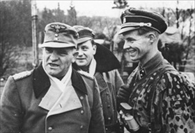 Dietrich with front-line soldiers, January 1945