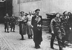Speer (bare-headed) being arrested, May 1945
