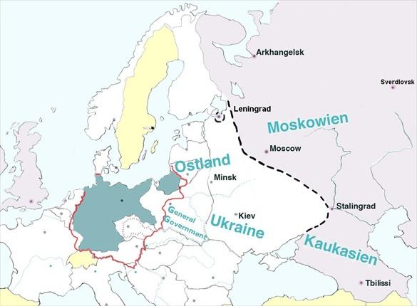 Generalplan Ost: Map of eastern expansion