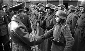 Goebbels congratulates boy-soldier Willi Huebner, Eastern Front, mid-March 1945