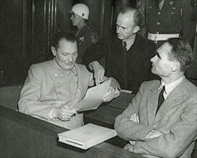 Hermann Goering, Rudolf Hess, and Karl Doenitz, Nuremberg, November 1945