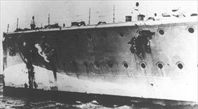 Damaged port side bow of Admiral Graf Spee, December 1939