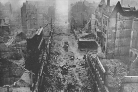 Rubble-strewn Hamburg street following Operation Gomorrah, 1943