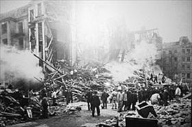 Smoldering fires in Hamburg following Gomorrah, 1943