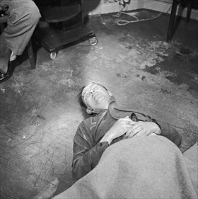 Body of Heinrich Himmler at British HQ, May 23, 1945