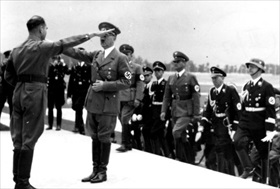 Rudolf Hess greeting Hitler at Nuremberg Party Rally, 1938