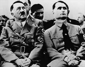 Hitler and Rudolf Hess at a Nazi party meeting, circa 1939
