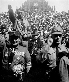 Hitler with SA, Nuremberg, late '20s