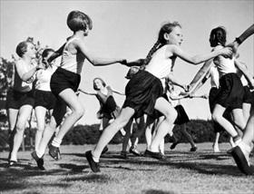 Exuberant female Hitler Youth