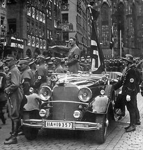 SA parade past Hitler, Nuremberg Rally 1935