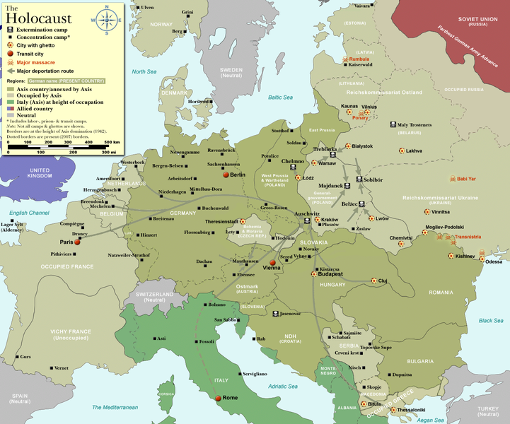Nazi death camp routes to Central Europe
