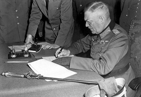 German unconditional surrender, Berlin, May 8, 1945. Keitel signs act of surrender