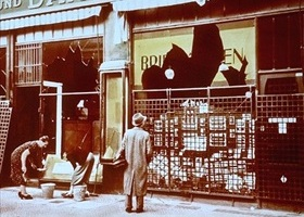 Berlin storefront after Kristallnacht