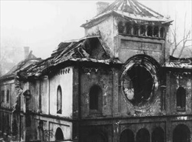 Munich's Herzog Rudolfstrasse synagogue after Kristallnacht