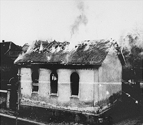Small Hessen synagogue burns during Kristallnacht