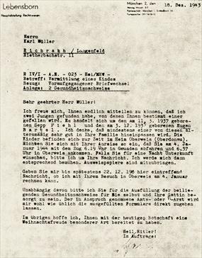 Lebensborn Program: Letter to prospective family, 1943
