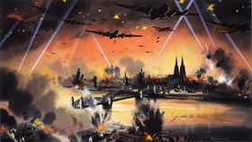 Artwork depicting RAF bomber raid on Cologne