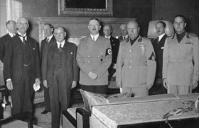 Eve of World War II in Europe: Leading European statesmen at the Fuehrerbau in Munich, September 1938