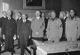 Benito Mussolini (second from left) at the Munich Conference, September 1938