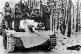 Operation Nordwind: German infantrymen atop tank destroyer, January 1945