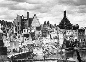 Nuremberg in ruins, St. Mary's Church in distance, 1945