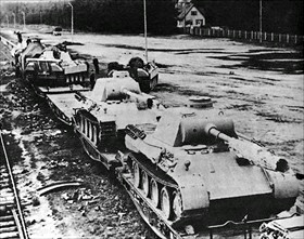 German Panther tanks on way to Ardennes, 1944
